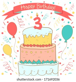 Cute Happy Birthday Card With Cake And Balloons Third