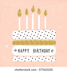 Happy birthday card images stock photos vectors shutterstock cute happy birthday card with cake and candles vector illustration bookmarktalkfo Images