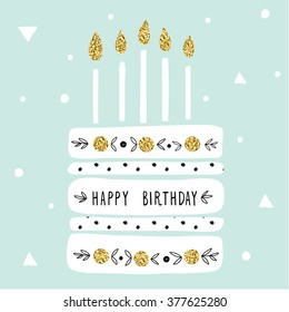 cute happy birthday card with cake and candles. vector illustration