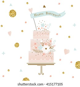 cute happy birthday card with cake. vector illustration