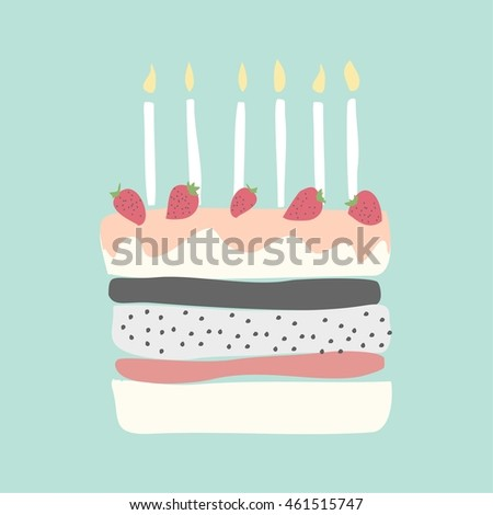 Cute Happy Birthday Card Cake Candles Stock Vector Royalty Free