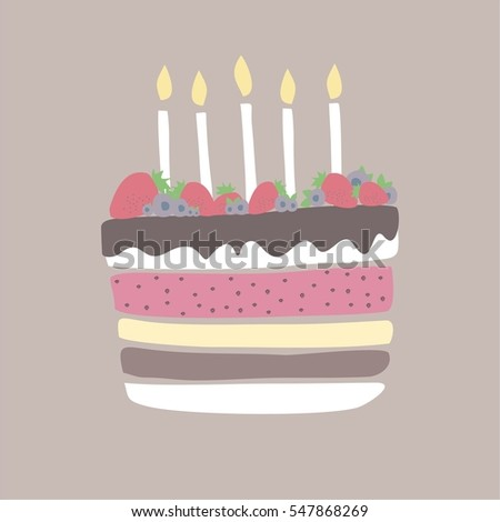 Cute Happy Birthday Card With Cake And Candles Blueberry Vector Illustration Save The Date Gift