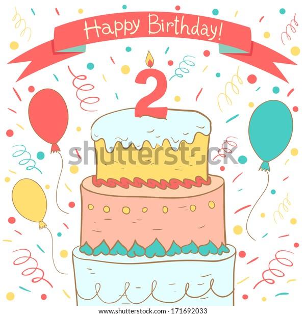 Fabulous Cute Happy Birthday Card Birthday Cake Stock Vector Royalty Free Funny Birthday Cards Online Chimdamsfinfo