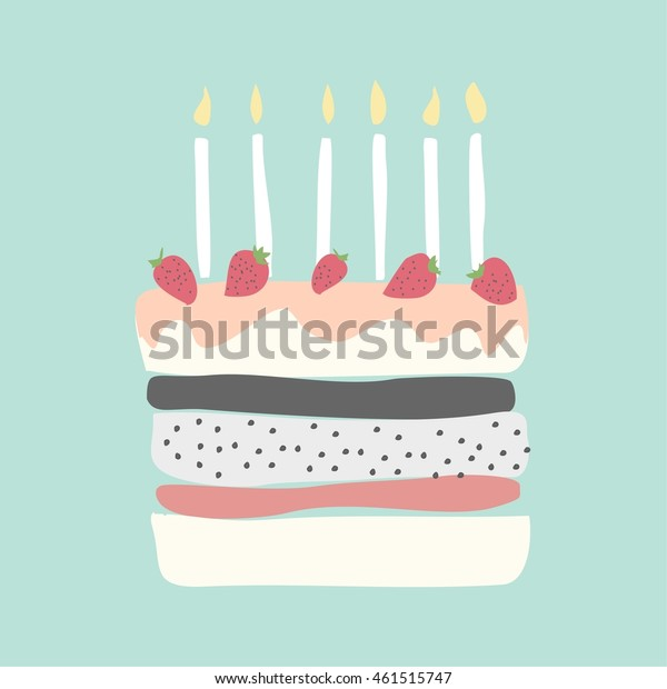 Super Cute Happy Birthday Card Cake Candles Stock Vector Royalty Free Funny Birthday Cards Online Overcheapnameinfo