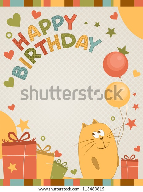 Astounding Cute Happy Birthday Card Cat Stock Vector Royalty Free 113483815 Funny Birthday Cards Online Overcheapnameinfo