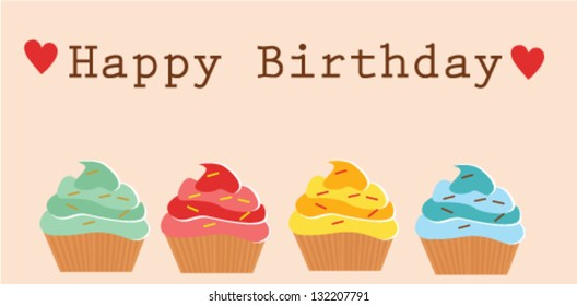 Cute Happy Birthday Card Cupcakes Stock Vector Royalty Free