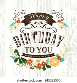 Cute Happy birthday card design with flowers ribbon banner and frame
