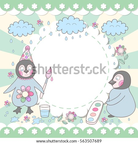 Cute Happy Birthday Card Drawing Penguins Stock Vector Royalty Free