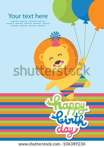 Cute Happy Birthday Card Fun Leon Stock Vector Royalty Free