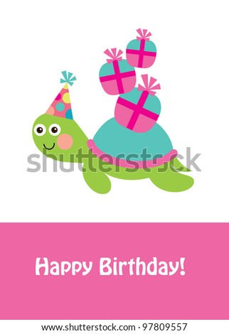 Cute Happy Birthday Card Fun Turtle Stock Vector Royalty Free