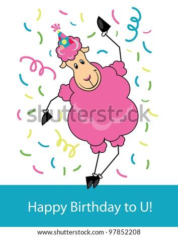 Cute Happy Birthday Card Fun Sheep Stock Vector Royalty Free