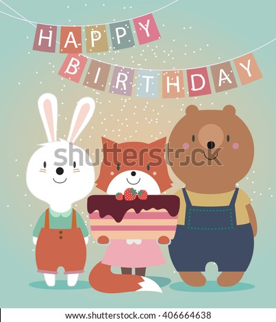 Cute Happy Birthday Card With Funny Animals
