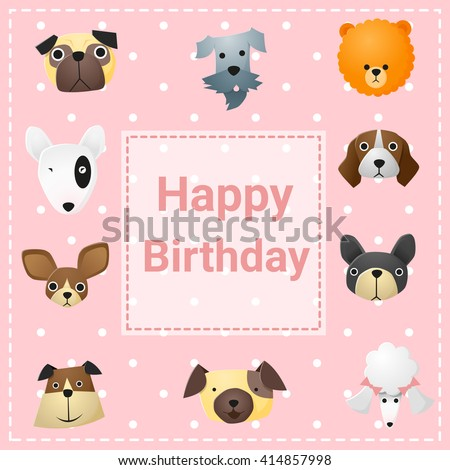 Cute Happy Birthday Card With Funny Dogs Vector Illustration