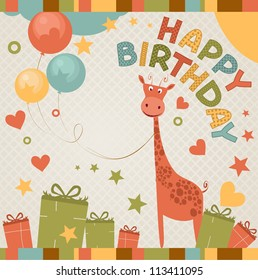 cute happy birthday card with giraffe.