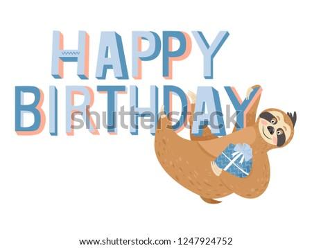 Cute Happy Birthday Card Sloth Happy Stock Vector Royalty Free