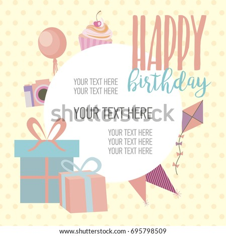 Cute Happy Birthday Card Template Greeting Stock Vector Royalty