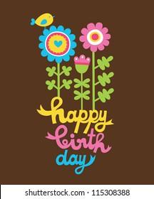 cute happy birthday card. vector illustration