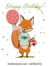 Cute Happy Birthday cartoon fox with balloon and flowers