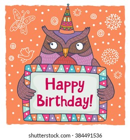 Cute happy birthday greeting card template with a cartoon owl
