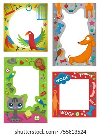Cute happy birthday pets photo frame vector illustration. Birthday design baby celebration. Cartoon child picture album card decoration.