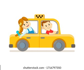 Cute happy boy and girl riding in yellow taxi cab. Colorful flat vector illustration, isolated on white background.