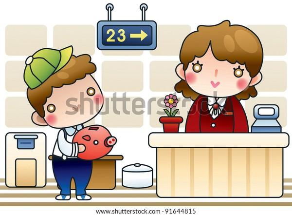 Cute Happy Boy Piggybank Smilling Bank Stock Vector (Royalty