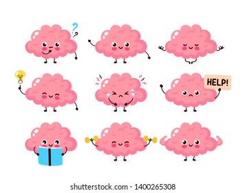 Cute happy brain set bundle.Healthy,unhealthy human organ.Vector flat cartoon character illustration mascot icon design.Nutrition,train your brain,mind care,fit,mindfulness,brain set character concept