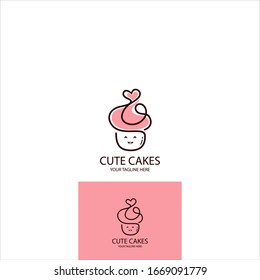 CUTE HAPPY CAKE VECTOR. LOGO FOR RESTAURANT, CAKES, BAKERY AND ANY MORE - Vector
