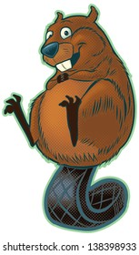 A cute happy cartoon beaver balancing on its flat tail. This vector clip art features halftone screens for shading, but these are on a separate layer for easy removal.