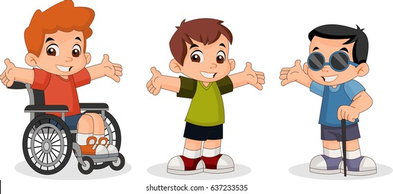 Cute happy cartoon boys. Blind boy. Boy on wheelchair.