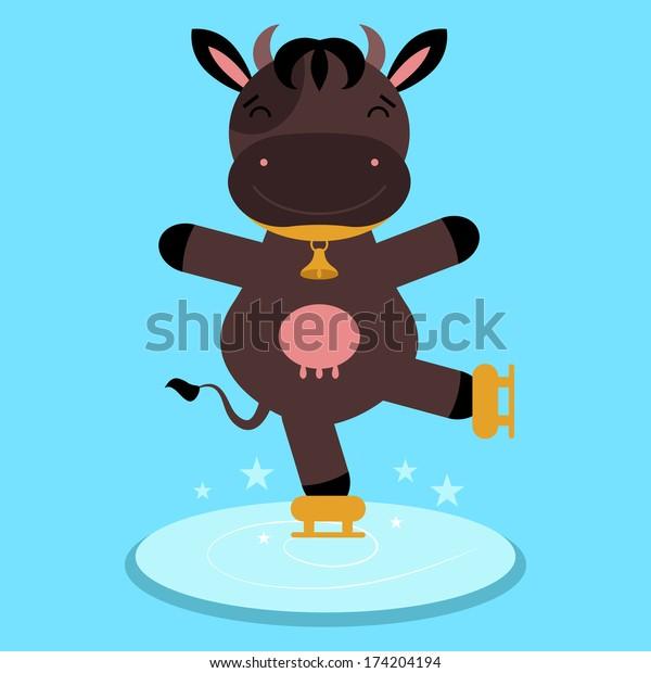 Cute happy cartoon cow skating