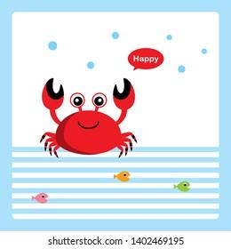 cute happy cartoon crab card
