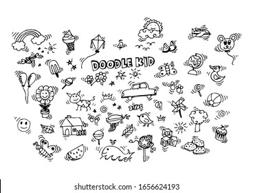 Cute happy cartoon doodle kids. Hand drawn Kids doodle set, black and white outline.