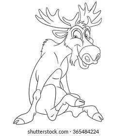 cute and happy cartoon moose or Eurasian elk with big horns, isolated on a white background