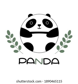 Cute happy cartoon panda with green branches and leaves, with lettering, isolated on white background. Round bear logo stock vector illustration.