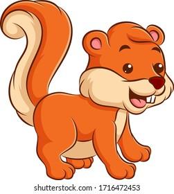 cute and happy cartoon squirrel