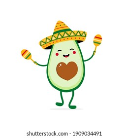 Cute happy cartoon style avocado character wearing sombrero and dancing with maracas for Cinco de Mayo, mexican festivals design.