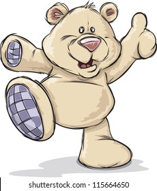 A cute happy cartoon teddy bear