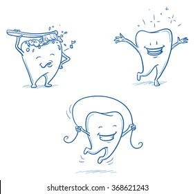 Cute happy cartoon tooth being cleaned with brush, and water, jumping happy and shiny. Hand drawn line art cartoon vector illustration.
