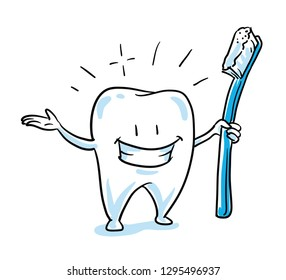 Cute happy cartoon tooth caracter, in shiny, sparkling white, with tooth brush, isolated. Hand drawn cartoon sketch vector illustration, whiteboard marker style coloring.