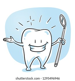 Cute happy cartoon tooth caracter, in shiny, sparkling white, with dental mirror. Hand drawn cartoon sketch vector illustration, whiteboard marker style coloring.