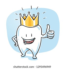 Cute happy cartoon tooth caracter with gold crown, in  shiny, sparkling white, showing thumb up. Hand drawn cartoon sketch vector illustration, whiteboard marker style coloring.