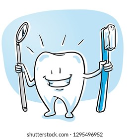 Cute happy cartoon tooth caracter, in shiny, sparkling white, with tooth brush and dental mirror. Hand drawn cartoon sketch vector illustration, whiteboard marker style coloring.