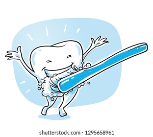 Cute happy cartoon tooth caracter, in shiny, sparkling white, being cleaned with tooth brush. Hand drawn cartoon sketch vector illustration, whiteboard marker style coloring.