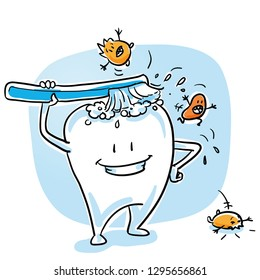 Cute happy cartoon tooth cleaning himself with tooth brush, scaring off bacteria. Hand drawn cartoon sketch vector illustration, whiteboard marker style coloring.