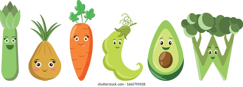 Cute happy cartoon vegetables. All in different layers for easy editing isolated on white background. Vector illustration