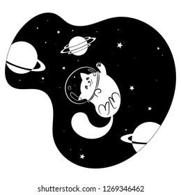 Cute happy cat among the stars and planets in space, cartoon vector drawing of a Cat a spacesuit helmet in Space - Vector