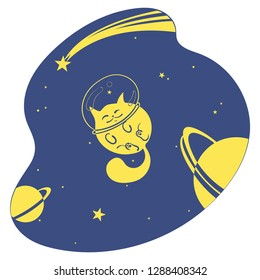 Cute happy cat among the stars and planets in space, cartoon vector drawing of a Cat a spacesuit helmet in Space