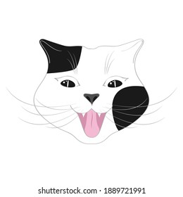 Cute happy cat cartoon. Cheerful cat, emotion. Cat smile. Characters, Funny cat's face, head, Black and white muzzle. Animals, design for children, portrait.