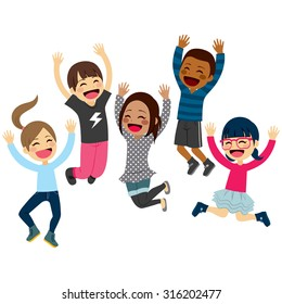 Cute happy children jumping together with arms up and winter fashion clothes